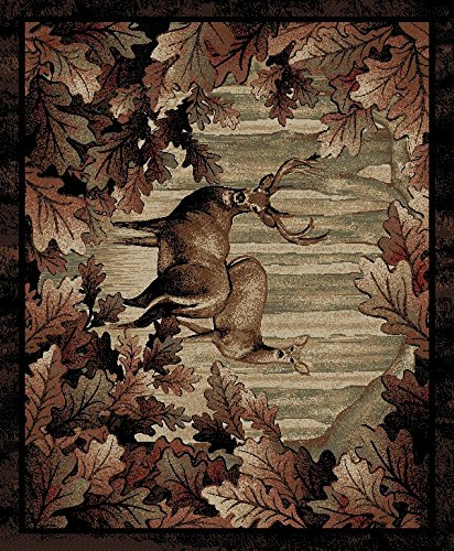 - Rug Empire Rustic Lodge, Deer Area Rug, 94
