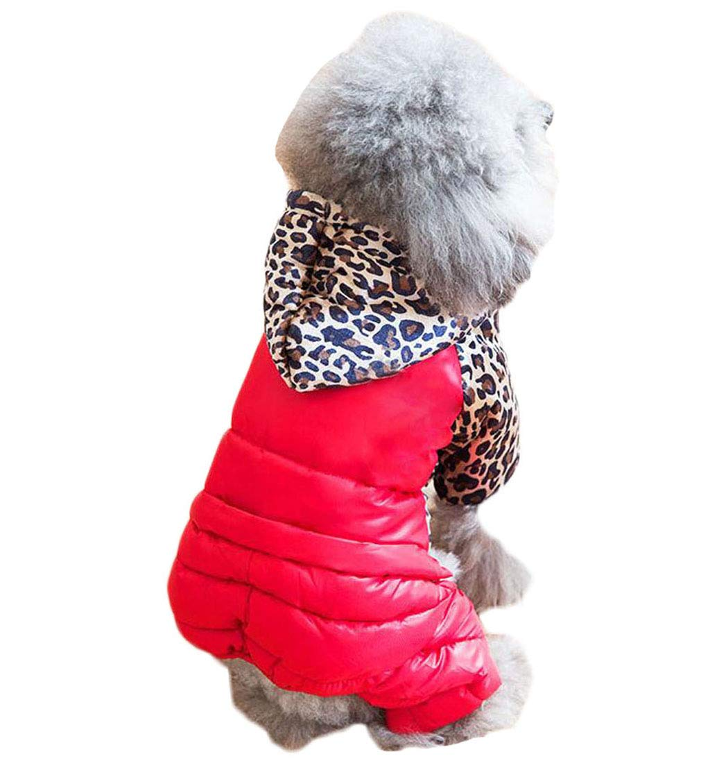 RED L RED L Puppy Clothes Winter Thick Cotton Coat Teddy Female Autumn and Winter wear Small Dog pet Four-Legged Down Jacket (color   RED, Size   L)