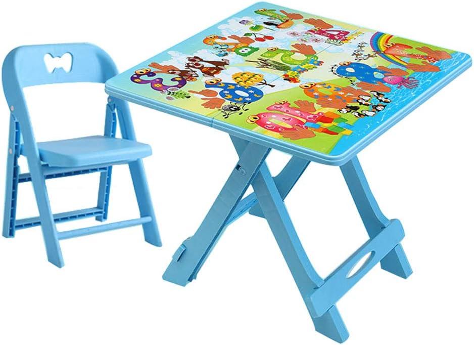 ZH Mesa Plegable para Infantil con Silla, Mesa de Actividades de plástico portátil para niños pequeños, Mesa de Picnic Jardin Exterior para niños y niñas: Amazon.es: Hogar