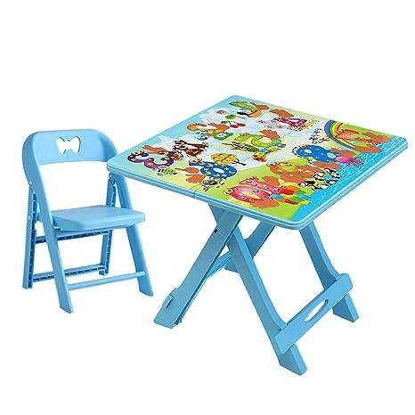 ZH Mesa Plegable para Infantil con Silla, Mesa de ...