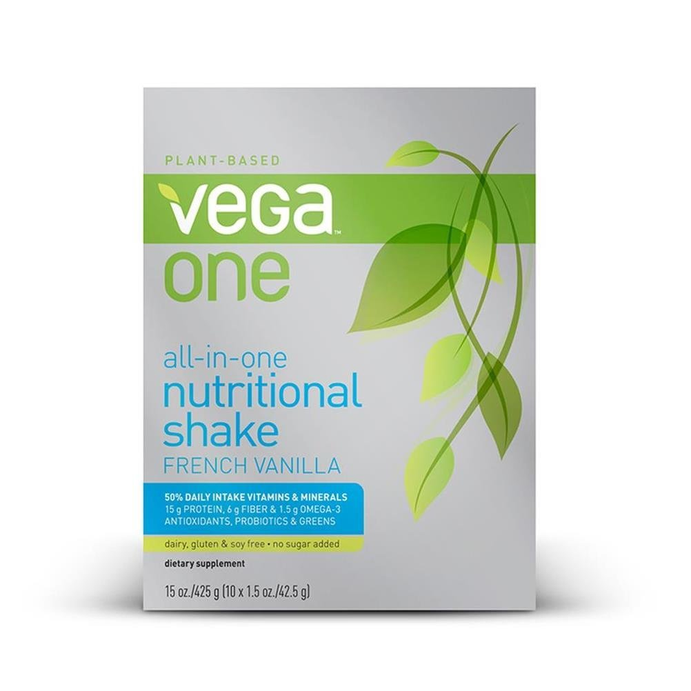 Vega One All-in-One Nutritional Shake French Vanilla (10 Count) - Plant Based Vegan Protein Powder, Non Dairy, Gluten Free, Non GMO