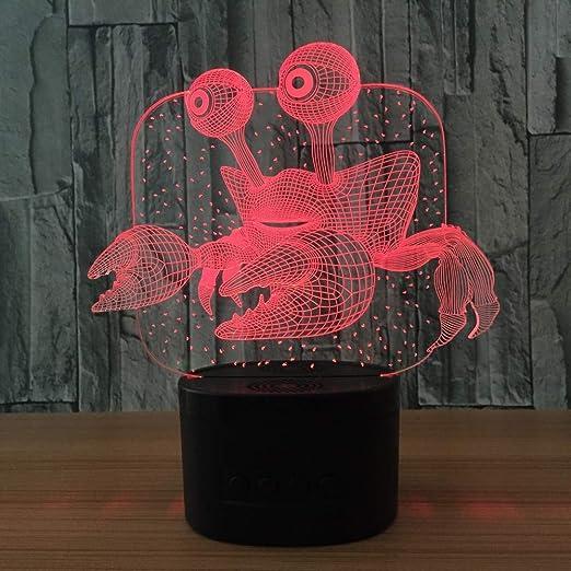 LWJZQT luz de noche 3d Cangrejo Led Lámparas De Mesa 3D Top De ...