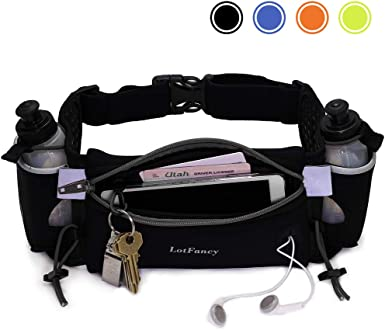 Running Hydration Belt Adjustable Fuel Belt with 10 Ounce Water Bottles Phone Holder and Waist Pack with Large Zip Pocket Run Pouch for Hiking Climbing Waist Bag for Runners Women and Men