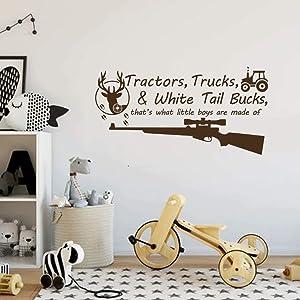 BATTOO Tractors, Trucks White Tail Bucks - Little Boys are Made of - Deer Tracks Boys Hunting Wall Decals Children Wall Decal Vinyl Art - Nursery Wall Vinyl Decal Vinyl(Dark Brown, 22