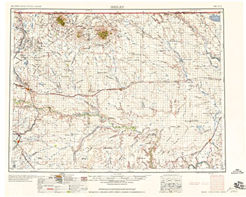 Shelby Mt Topo Map  1 250000 Scale  1 X 2 Degree  Historical  1958  Updated 1958  22 1 X 27 6 In   Paper