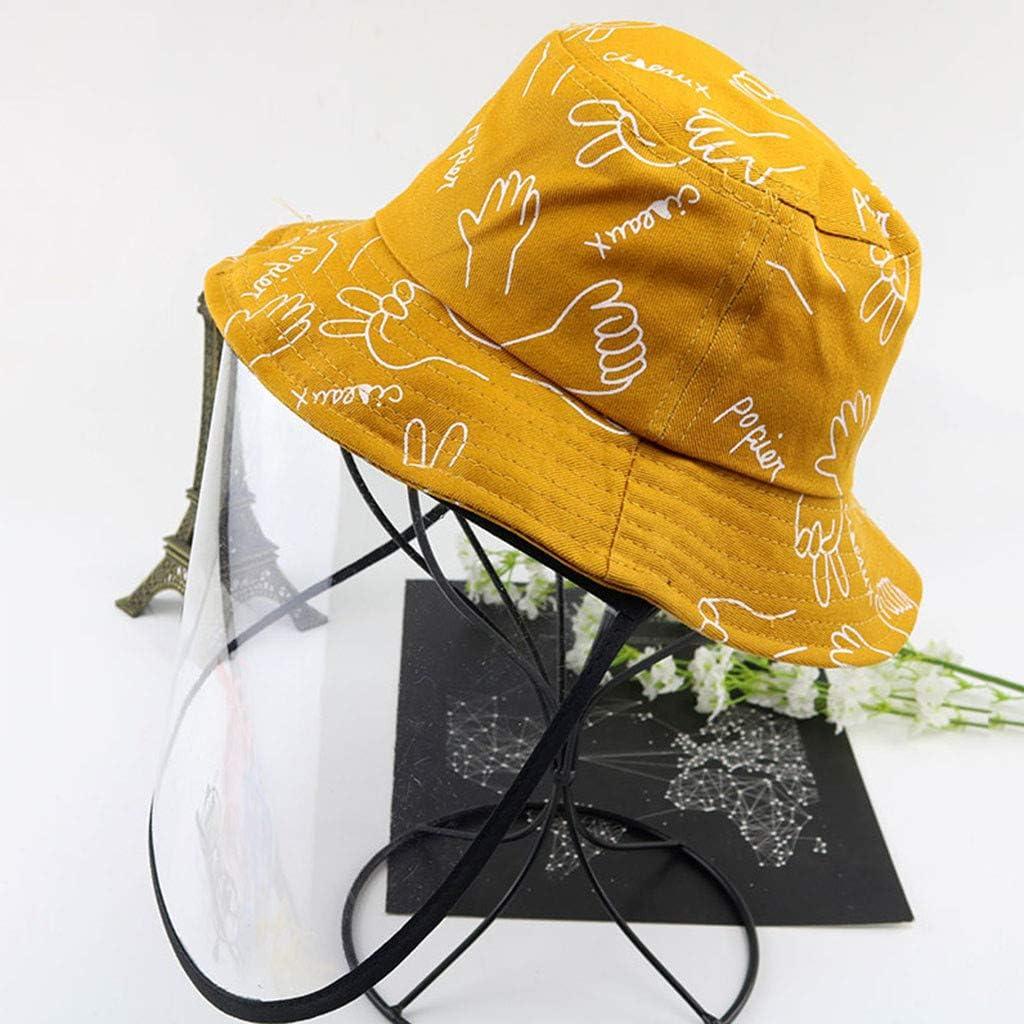 2-8 Anni Cappello Protettivo Facciale Bambini con Visiera Rimovibile Estivo Bambino Bambine Berretto Stampa Piccola Mano con Cover Trasparente per Anti-sputi Anti-UV Hat Protezione Solare
