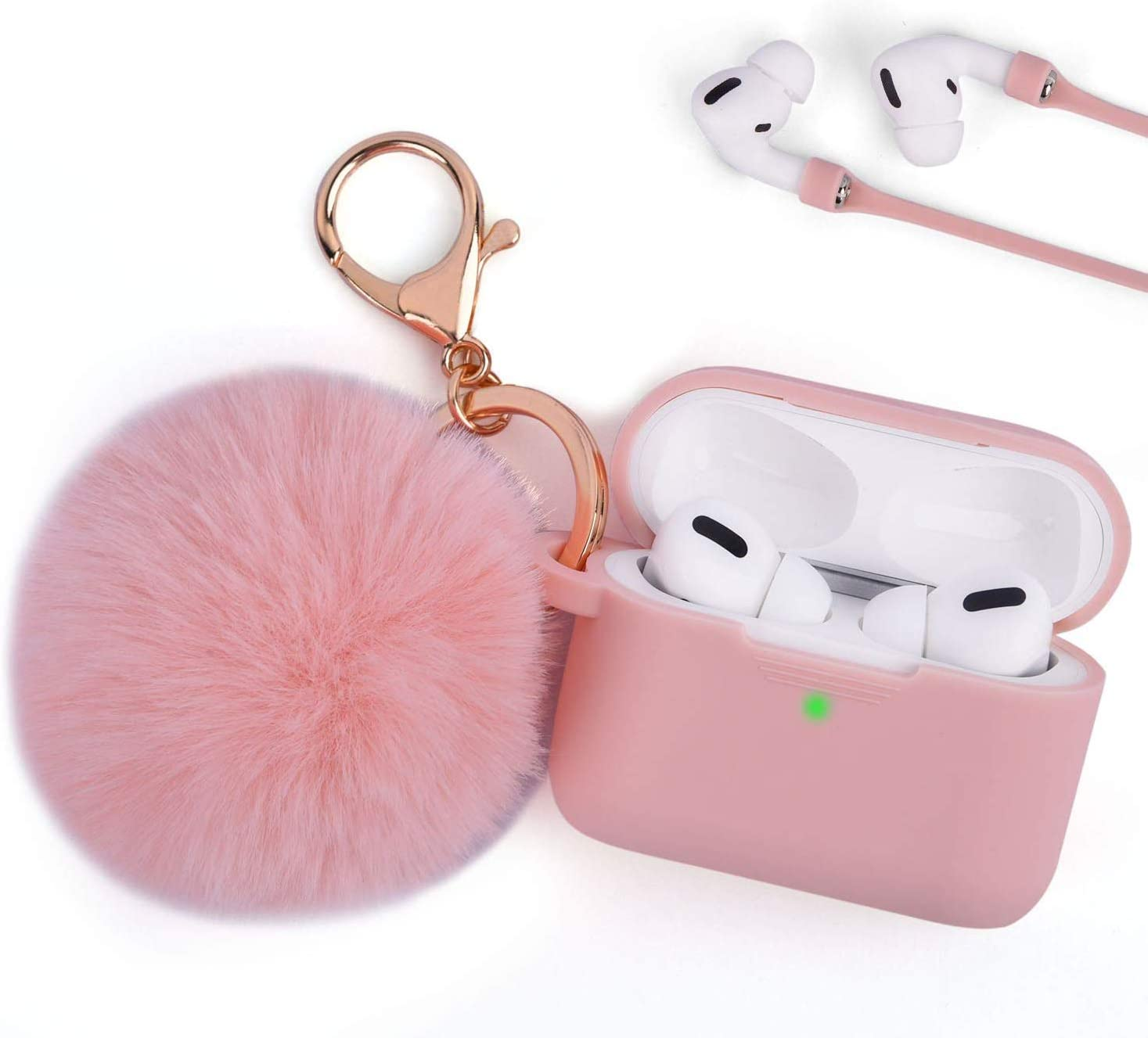 Airpods Pro Case Keychain Cute, TOROTOP Women Soft Silicone Protective Case Cover Compatible for Apple Airpods Pro Charing Case with Pom Fur Ball Keychain/Strap Accessories LED Visible (Light Pink#2)