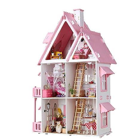 Ausomely Mini casa de Bricolaje 3D DIY Dollhouse con luz LED ...
