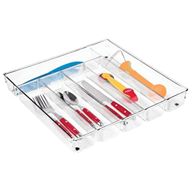 mDesign Compact Slim Plastic Kitchen Drawer Organizer Tray with 6 Divided Compartments for Storing Cutlery, Silverware, Flatware, Serving Utensils, Gadgets - Clear