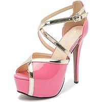 Enelauge Women's Crisscross Strappy Platform High Stiletto Heels Peep Toe Pump Party Sandals