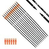 (US) Tiger Archery 30Inch Carbon Arrow Practice Hunting Arrows With Removable Tips for Compound & Recurve Bow(Pack of 12) (Orange White)