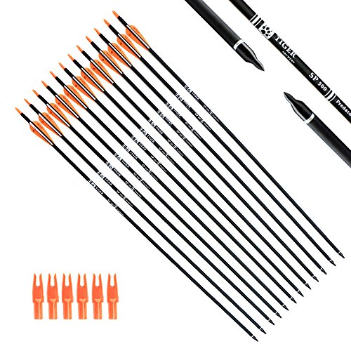 Down 30 Spline - Tiger Archery 30Inch Carbon Arrow Practice Hunting Arrows with Removable Tips for Compound & Recurve Bow(Pack of 12) (Orange White)