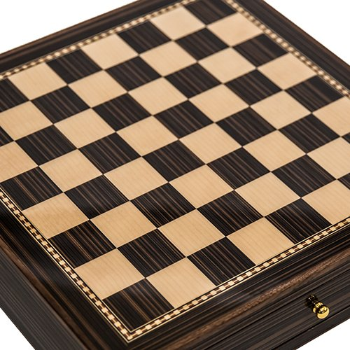 Seventh Avenue Maple & Walnut Chess Board/Cabinet with a High Gloss Finish & Two ()
