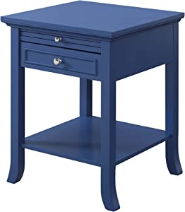 Convenience Concepts American Heritage Logan End Table with Drawer and Slide, Cobalt Blue