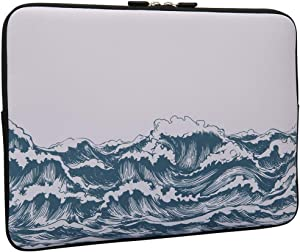 Ocean Laptop Sleeve Bag 15/15.4/15.6 Inch, Water Repellent Neoprene Light Weight Computer Skin Bag, Notebook Carrying Case Cover Bags for 15/15.6/16 Inch MacBook Pro, MacBook Air, Sea Wave