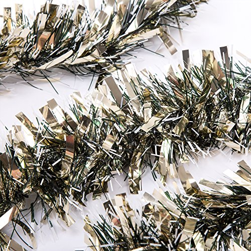 Tinsel Christmas Trees - SANNO Christmas Tinsel Garland Thick and Full Tinsel Sparkly Classic Party Ornaments Hanging Xmas Christmas Tree Ceiling Decorations, 3 Pcs 6.6 Ft (2M) x 4 inch wide, Gold