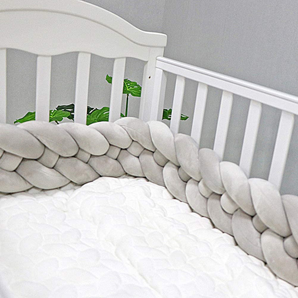 Knot Pillow Cushion Plush Cradle Decor for Newborn Baby Grey QCUTEP Baby Crib Bumper Braided Knotted Bumper