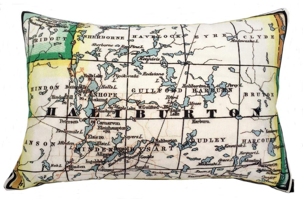 Haliburton Vintage Map Pillow