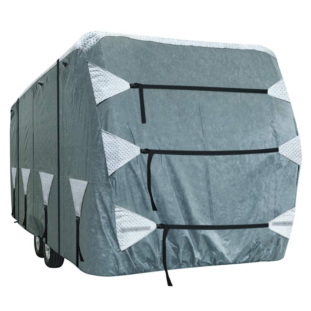 KING BIRD Upgraded Travel Trailer RV Cover, Extra-Thick 4 Layers Anti-UV Top Panel, Deluxe Camper Cover, Fits 27'- 30' RV Cover -Breathable, Water-Repellent, Rip-Stop with 2Pcs Straps & 4 Tire Covers by KING BIRD (Image #1)