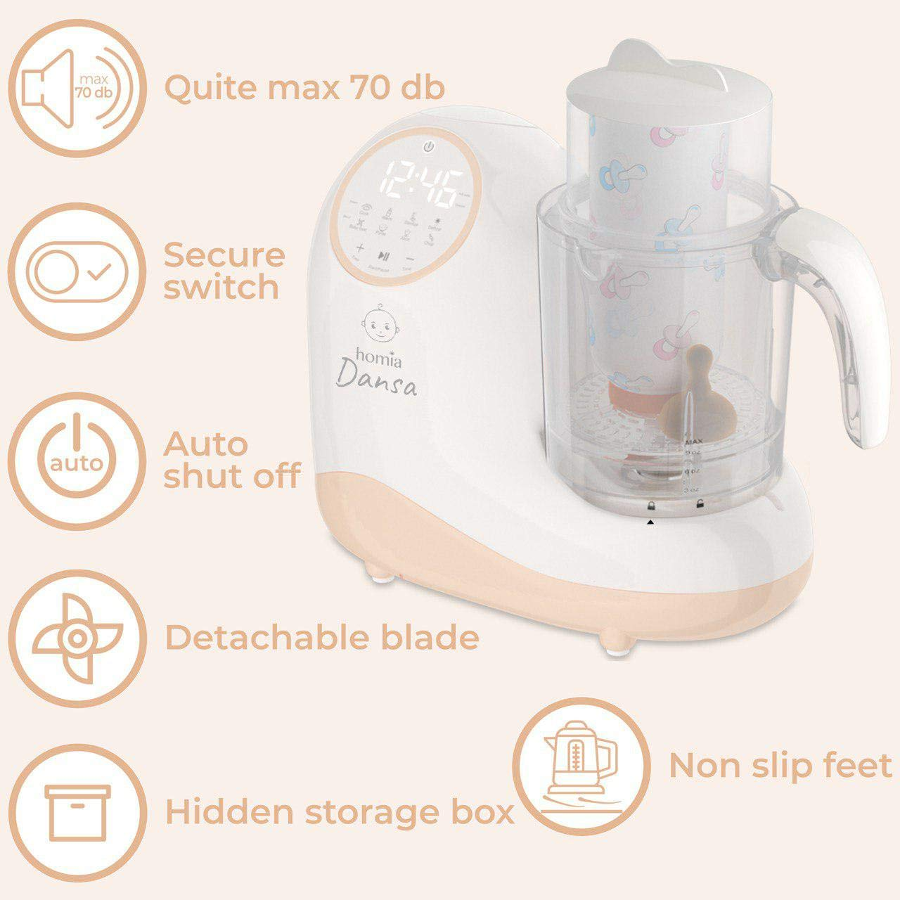 Baby Food Maker Chopper Grinder - Mills and Steamer 8 in 1 Processor for Toddlers - Steam, Blend, Chop, Disinfect, Clean, 20 Oz Tritan Stirring Cup, Touch Control Panel, Auto Shut-Off, 110V Only by homia (Image #10)