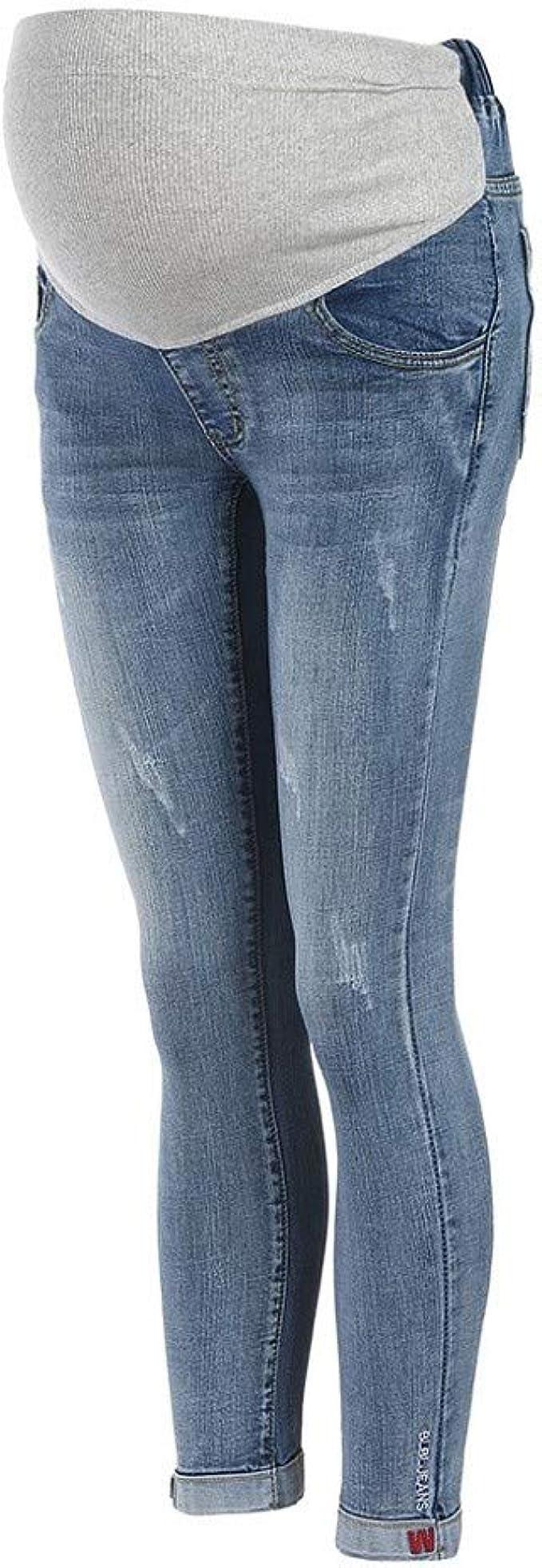 Damen Umstandsjeans Umstandshose Schwangerschafts Hose Jeans mit Bauchband D43