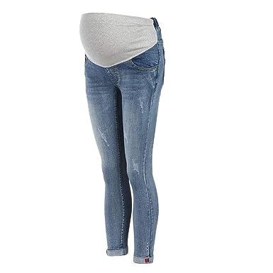 Damen Umstandsmode Umstandsjeans Straight Schwangerschaftshose Maternity Umstandsleggings Jeans Schwangere Umstandshose mit Stretch Bauchband Hose