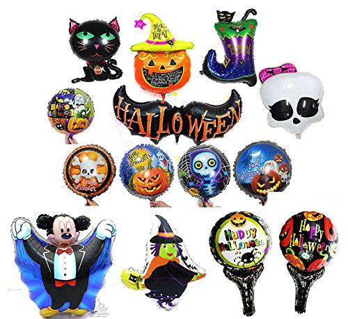 Halloween Balloons Aluminum Foil Pumpkin Bat Boot Witch Skull Cat Mickey Balloons Party Supplies Party Back Drop Decorations Pack of (Balloons Halloween)