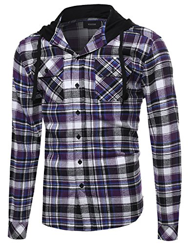 Plaid Attachable Hoodie Flannel Shirt PurpleBlack Size L