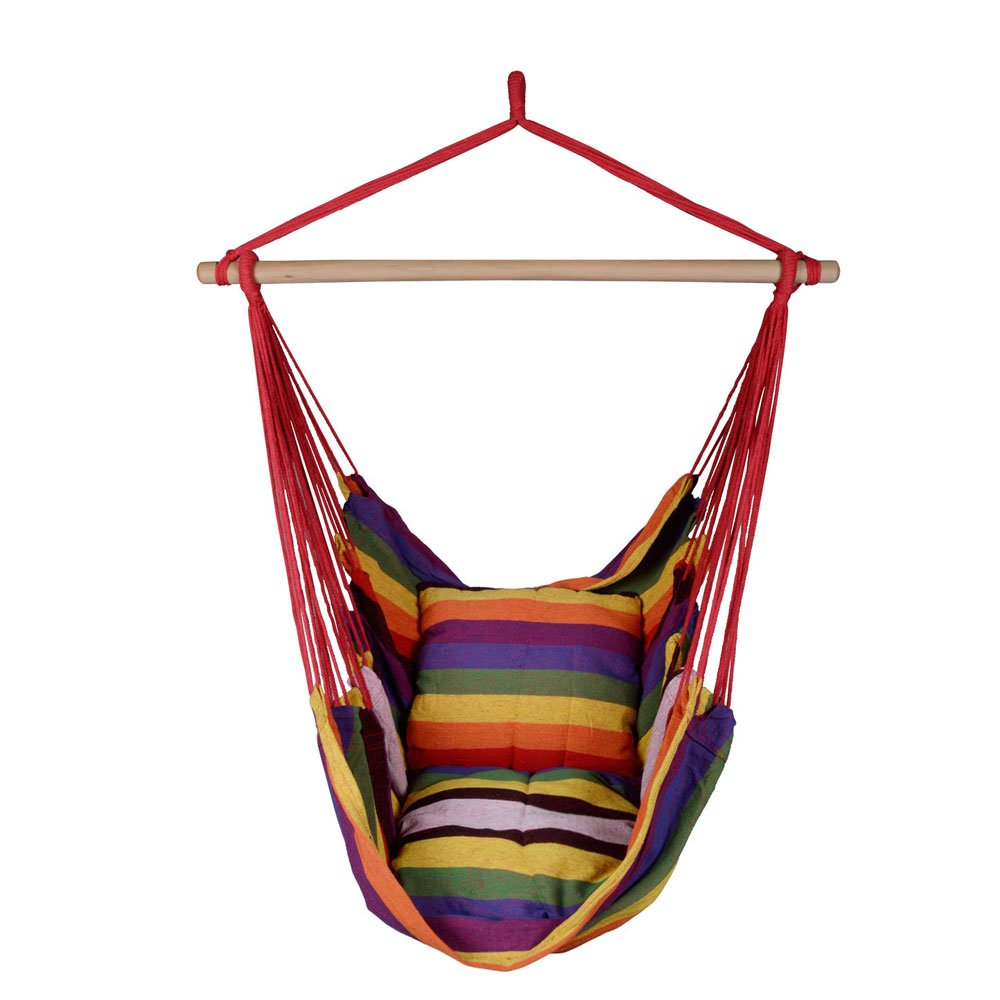 Lovinland Cotton Hammock Hanging Rope Chair Porch Swing Seat with Pillows for Indoor Outdoor Patio Camping Rainbow