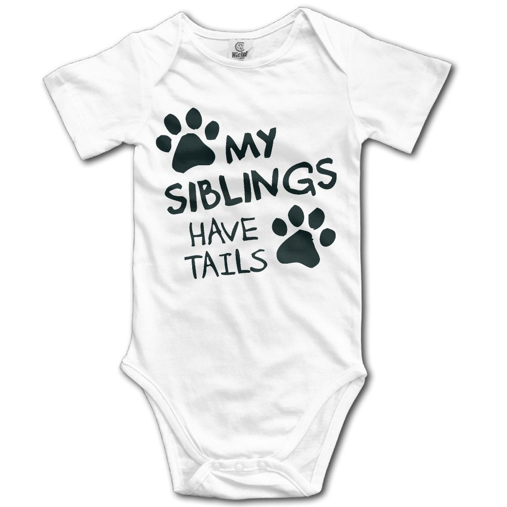 Newborn Boys Girls My Siblings Have Tails Funny Short-Sleeve Baby Onesie Outfits