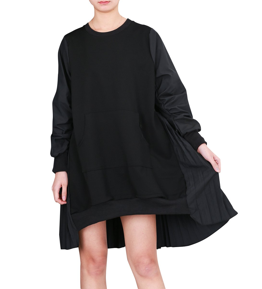 ELLAZHU Damen Mode Patchwork Sweatshirt Falten Locker Midi Kleid GY1487 GC GY1487 Black