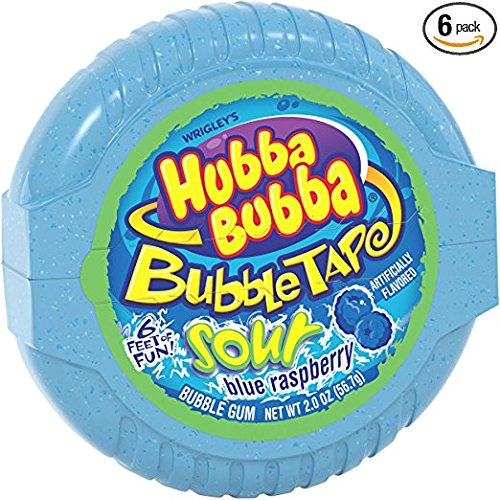 Hubba Bubba Sour Blue Raspberry Bubble Gum Tape, 2 ounce (Pack of 6)