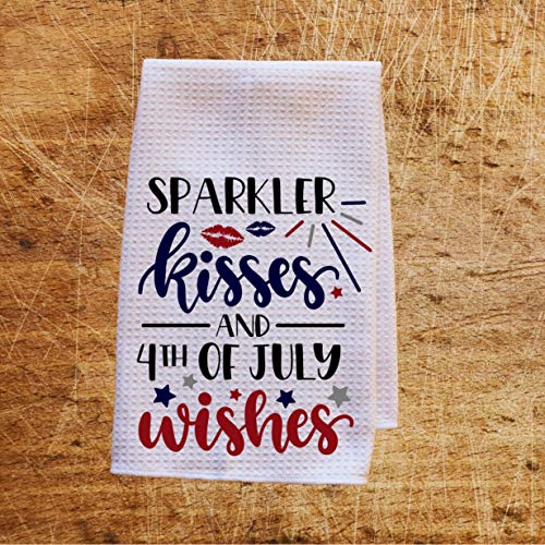 Sparkler Kisses 4th of July Wishes Waffle Weave Kitchen Towels Drying Cloth 16inch X 24inch -