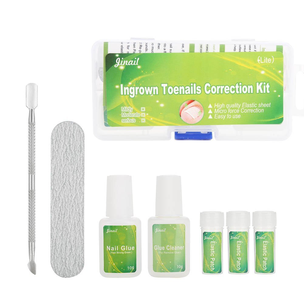 Ingrown Toenail Treatment - Delaman Pedicure Ingrown Toenail Correction Set, Nail Pusher + Ingrown Patch by Delaman