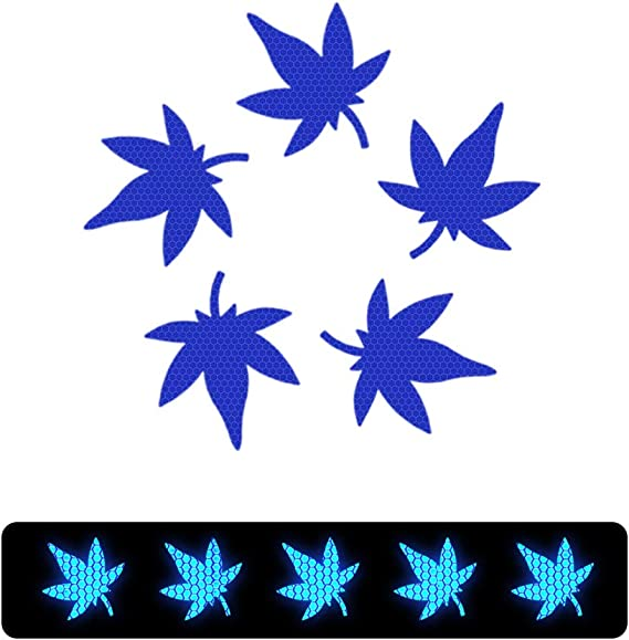 Reflective Tape BLUE Reflective Decal Maple Leaf Shape Reflective Sticker Safety Caution Warning Caution Conspicuity Tape Waterproof Self-Adhesive Reflector Tape-Reflective 10 Pcs