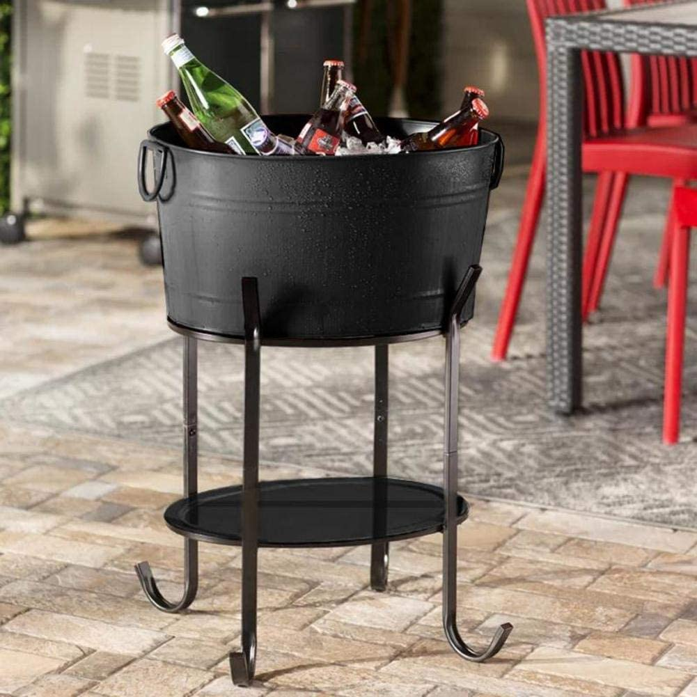 GWW Metal Oval Ice Bucket,Beverage Tub with Handle Large Capacity Cooler Bucket with Stand Wine Buckets for Bar-Black 50x37x25cm(20x15x10inch)