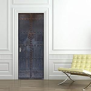 Eanpet 3D Door Sticker Adhesive Murals Wall Sticker for Home Decor Bedroom Front Door Decoration 30 x 79 inch (Vintage Iron Gate)