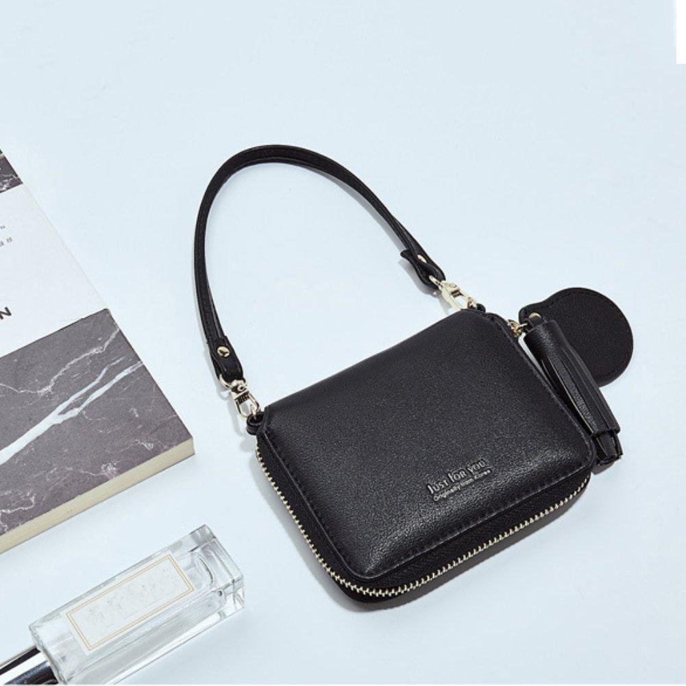 856store Big Promotion Women Wallet Faux Leather Card Holder Short Coin Purse Phone Bag Clutch Black