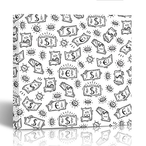 Emvency Painting Canvas Print Square 16x16 Inches Black Drawing Money Rain Doodle Dollar and Euro Banknotes and Coins White Bank Wall Art Decoration Wrapped Wooden Frame - Euro Black Frame Square