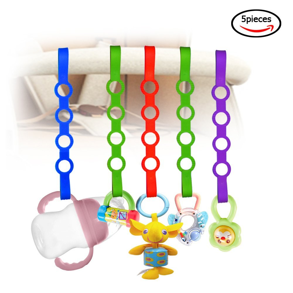 Baby Pacifier Clips,5 Pack Stretchable Silicone Toy Safety Straps,Baby Toddler Bottles Harness Straps for Strollers, Shopping Trolley,Cars,Hanging Baskets,Cribs,Bags