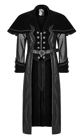 Homme Manteau En Avec Pour Cape Punk Rave Long Noir Petite Velours jq354ALR