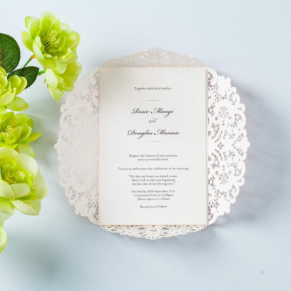 Printable Invitation Sleeve Pocket with Envelope 1 WISHMADE 5 x 7 inch Blush Pink Laser Cut Floral Design Wedding Invites for Baby Shower Engagement Quincenera Paraboda Birthday Party