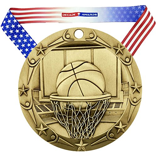 Decade Awards Basketball World Class Engraved Medal – Gold | WCM Hoops First Place Award | Includes Stars Stripes American Flag Neck Ribbon | 3 Inch Wide – Customize -