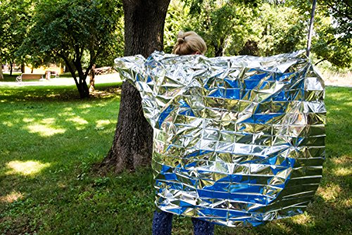 Emergency Blankets with Safety Whistle By Easy USe | Mylar material | 83 x 51 Inch Large.Pack of 5 Perfect for Emergency Situations | Survival | Car Emergency Blanket | Hiking |Camping