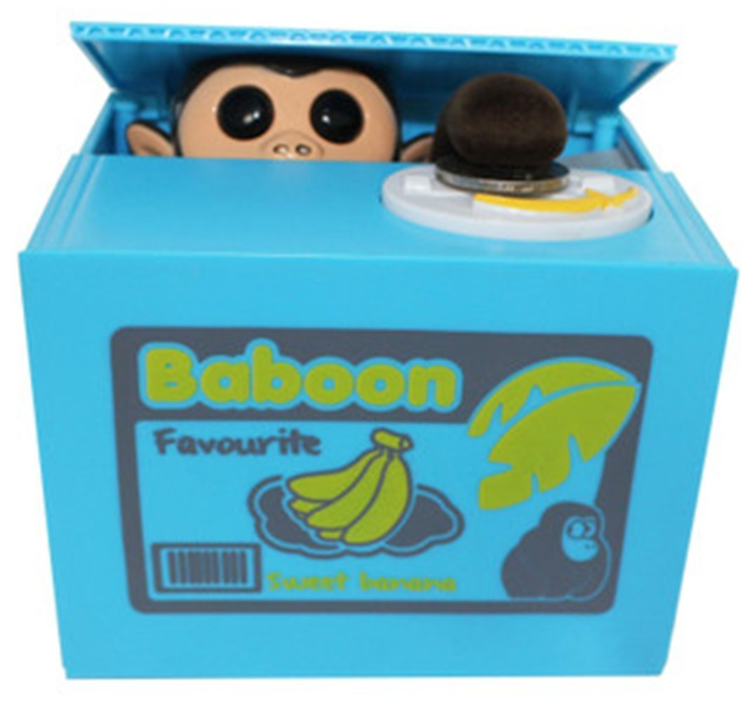 Easyflower Novel and Unique Little Monkey Money Box Automatic Stealing Coin Box Gift for Kids and Adult (Blue) by Easyflower (Image #2)