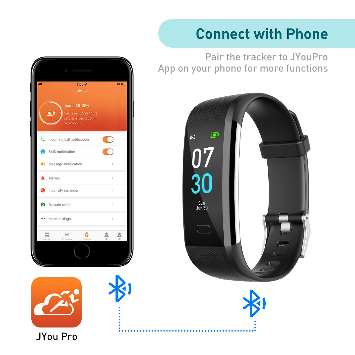Fitness Tracker, Activity Tracker Watch with Heart Rate Monitor, Waterproof IP68 Pedometer with Step Counter Sleep Monitor Calorie Counter for Android and iPhone 2019 New Model