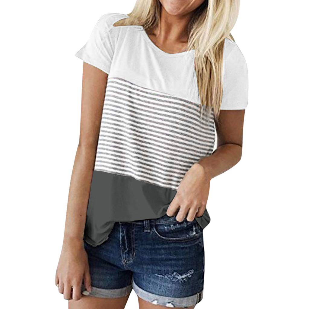 Womens Shirts T-Shirts for Women Casual Top Lady Short Sleeve Striped Top Gray