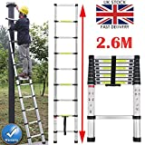Bowose 2.6m Multi-purpose Aluminium Telescopic Ladder Extension Extendable DIY Builders 9 Steps 150KG Maximum Load Capacity, Easy to Carry & Storage