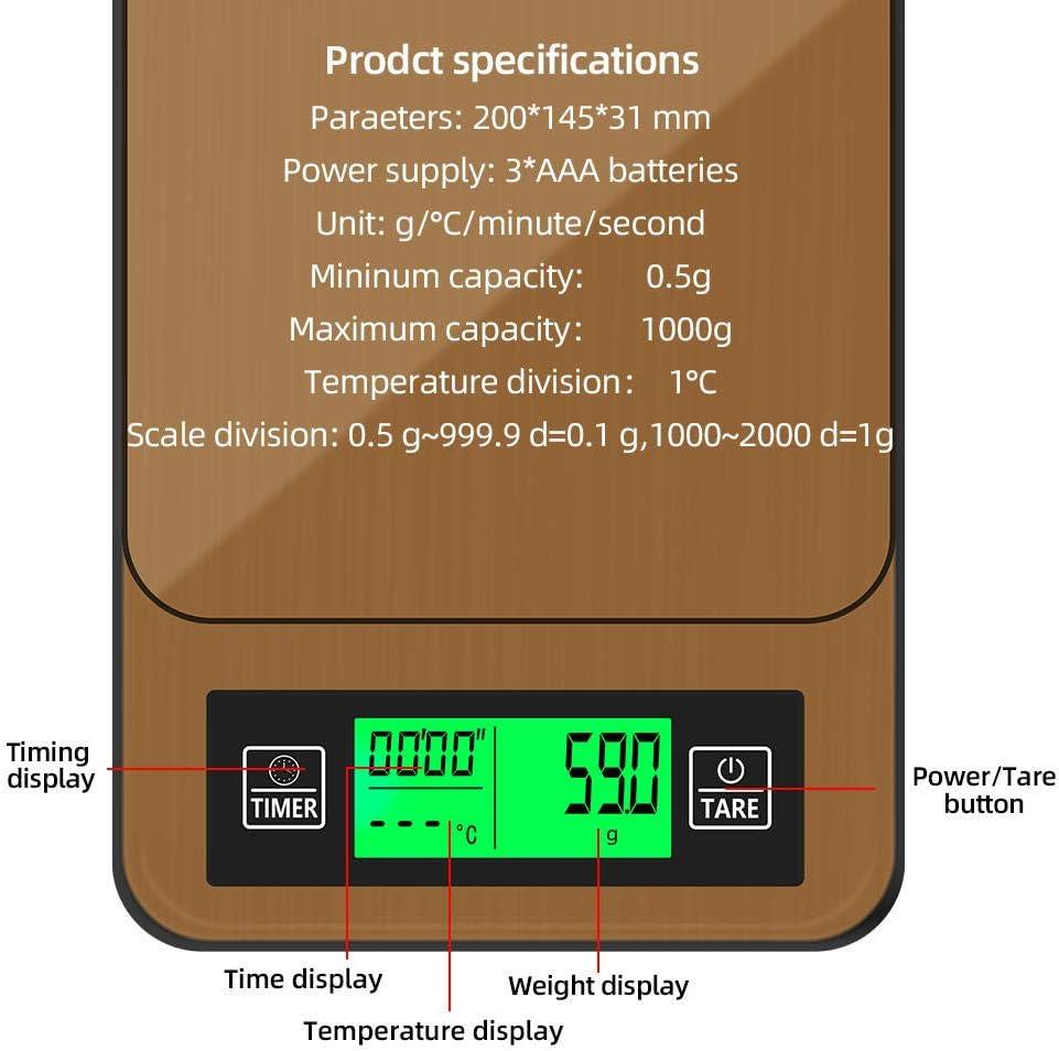 Peso digitale dei gioielli della cucina della bilancia del caffè 1000g 0.1g con le bilance elettroniche LCD di alta precisione del temporizzatore 40% di sconto-CINA China
