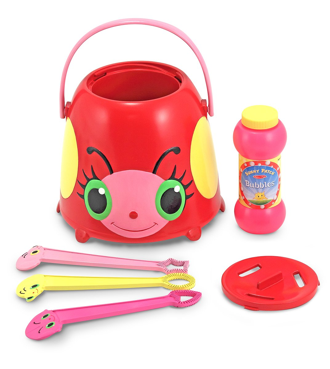 Melissa Doug Mollie Ladybug Bubble Blowing Bucket Set With 3 Bubble Wands